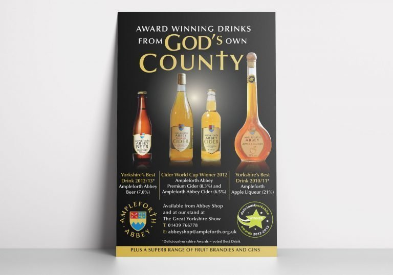 An Poster showing Ampleforth Abbey's range of drinks