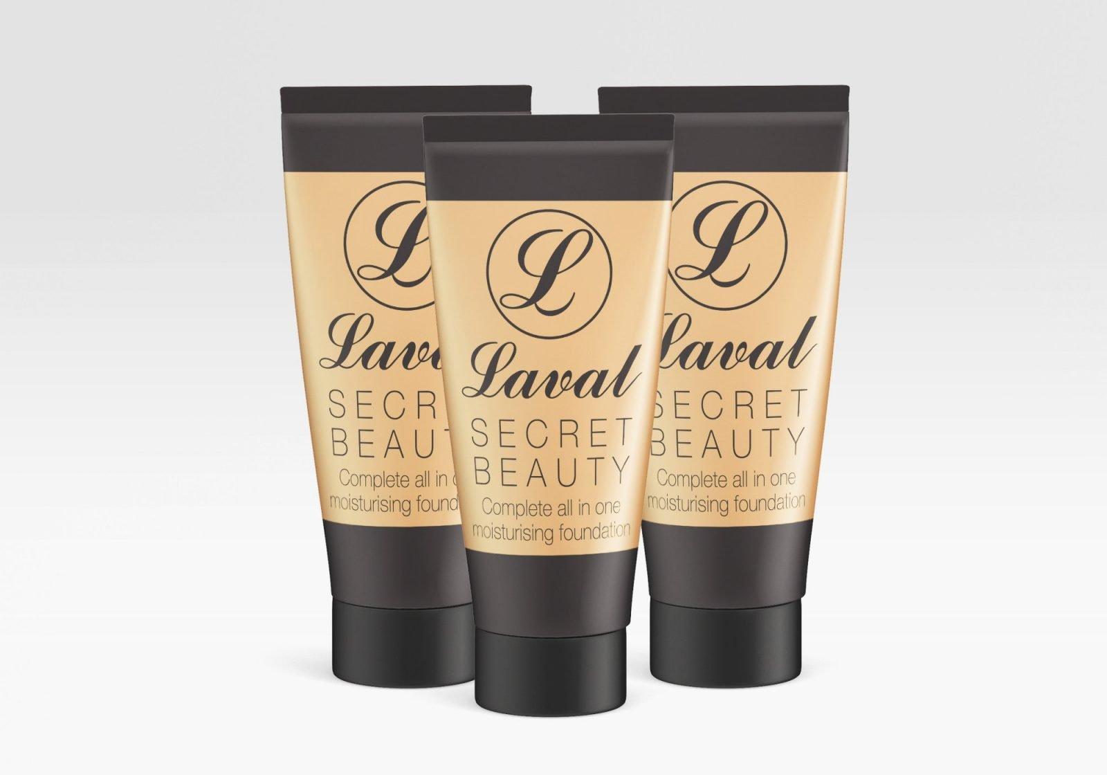Packaging design for Laval moisturising foundation cream showing three bottles