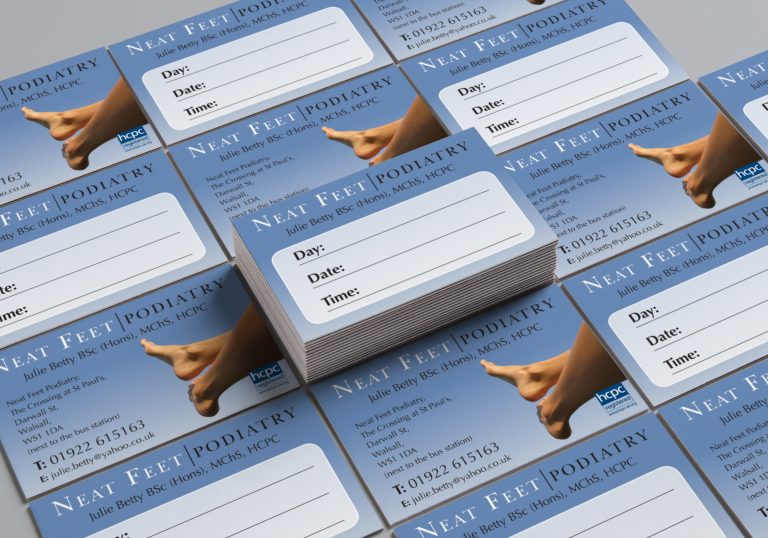 Business card design for Julie Betty Podiatry showing the front and back