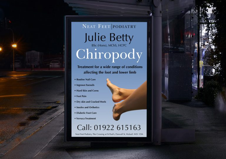 Poster in a bus stop shelter at night for Julie Betty Podiatry