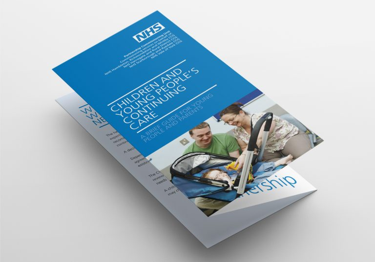 An A4 folded leaflet design for the NHS Partnership Commissioning Unit