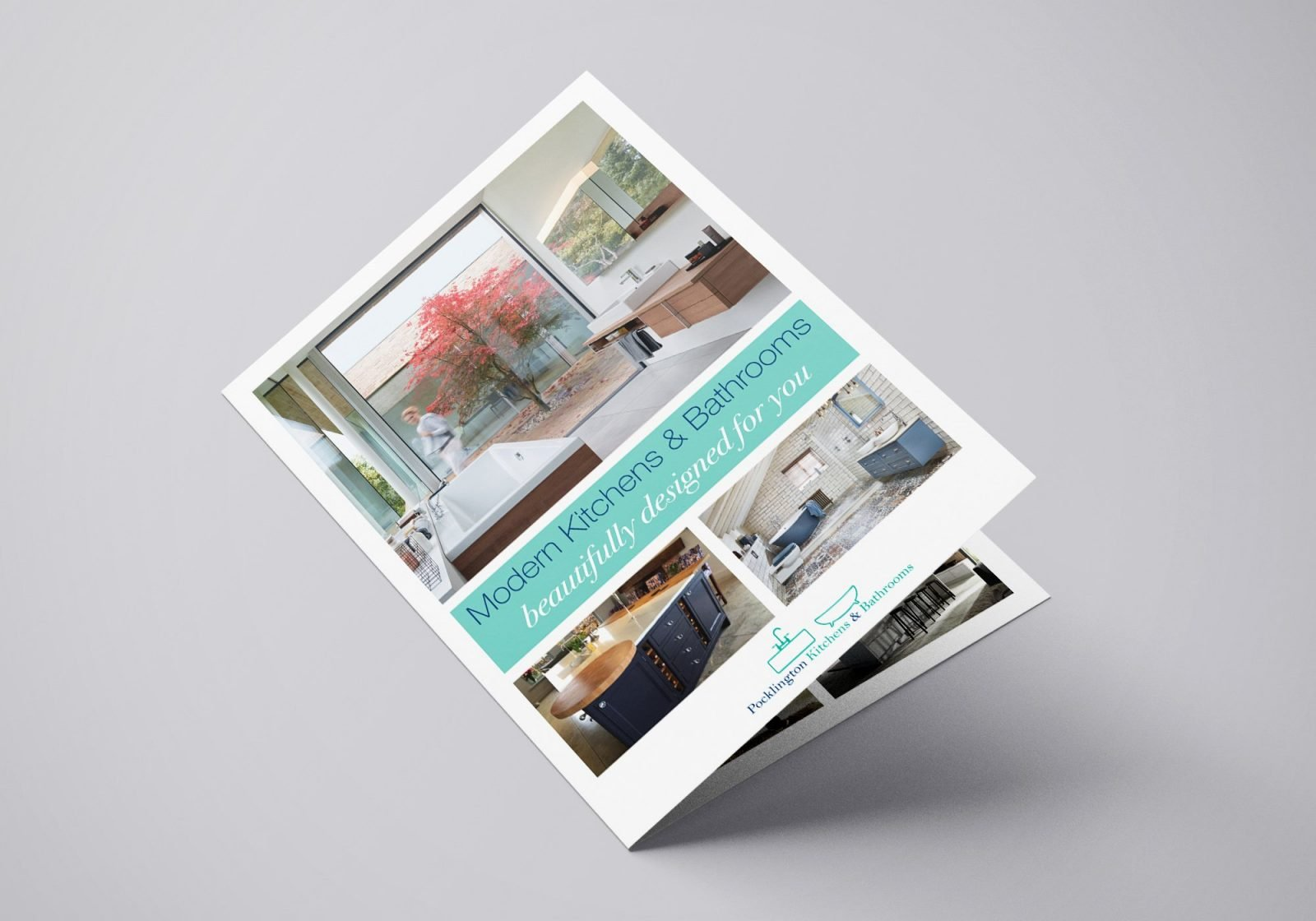 A4 Brochure for Pocklington Bathrooms and Kitchens showing the front page