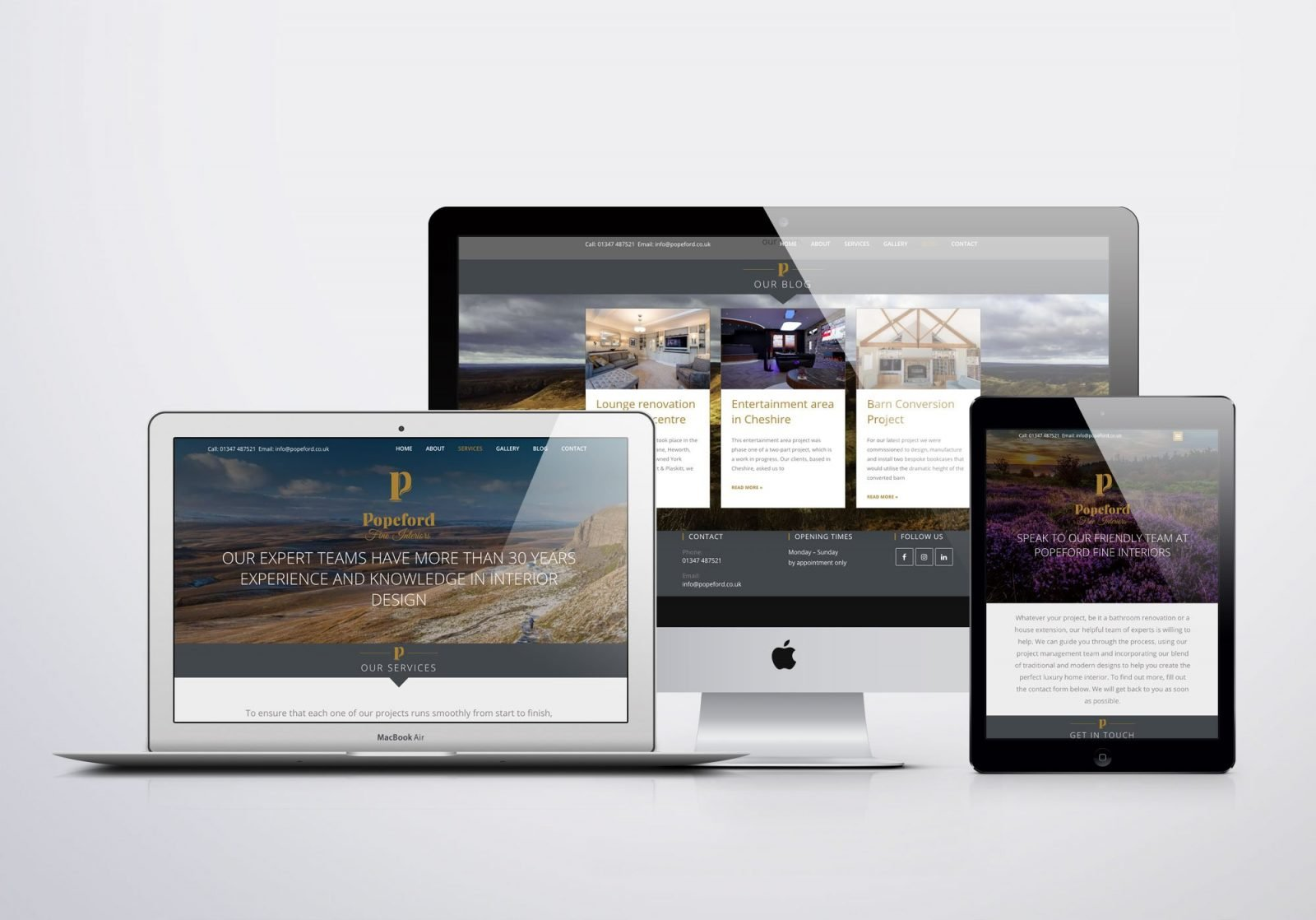 A desktop computer, a laptop and ipad showing images of Popeford Interior Designers website design
