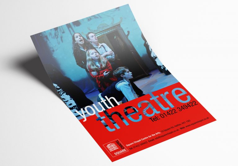 An A5 flyer design for the youth Theatre at Square Chapel centre for the Arts in Halifax