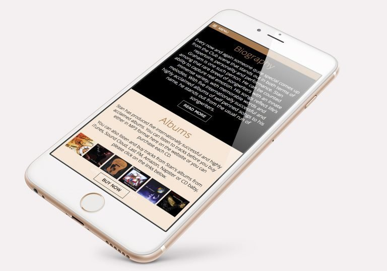 An phone showing the home page design for Stan Graham, singer songwriter's website