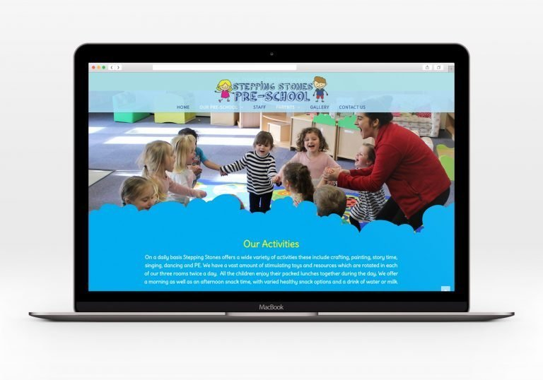A laptop showing the home page for Stepping Stones Pre-School website design
