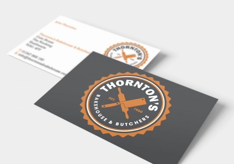 A business card design for Thornton's Butchers and Bakehouse