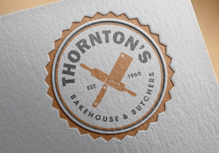 A close up of the logo on paper for Thornton's Butchers and Bakehouse
