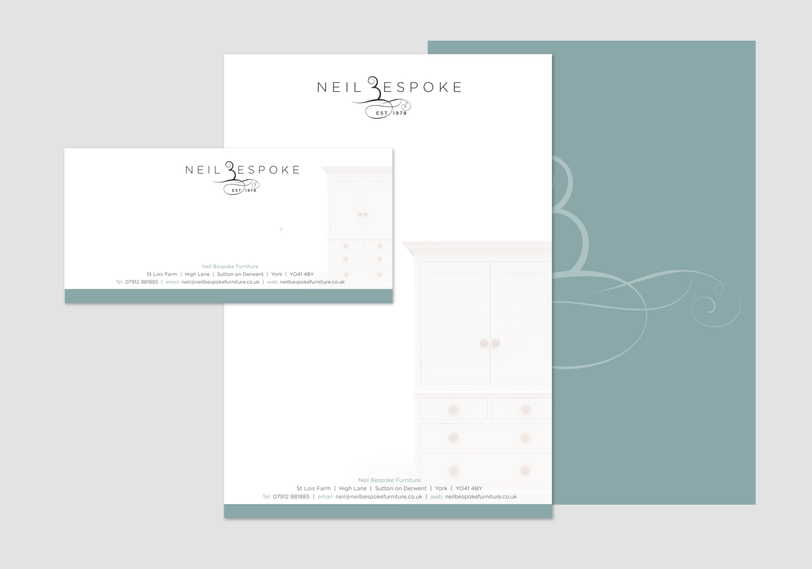 Neil Bespoke Stationery showing compliment slip and letterhead